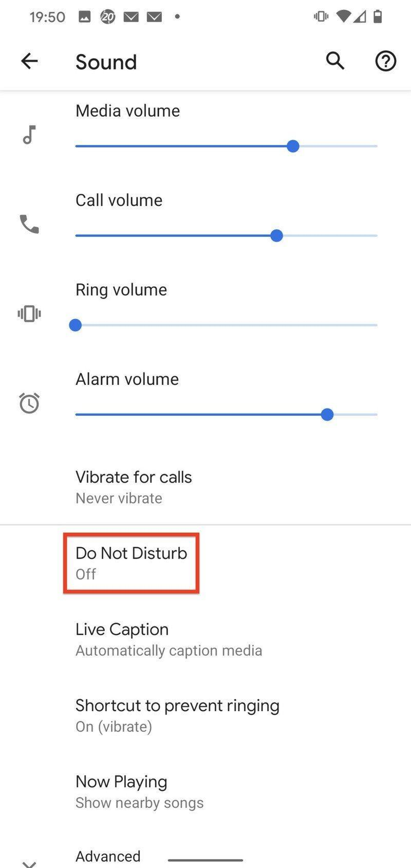 Do Not Disturb In Sound Settings